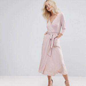 ASOS PETITE Crepe Wrap Midi Dress size 10